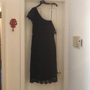 Nanette Lepore one shoulder navy cocktail dress